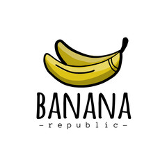 Banana logo, simple sketch isolated on white for your design