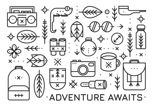 Vector card with set of camping items