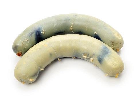 Preserved duck eggs intestine on white background