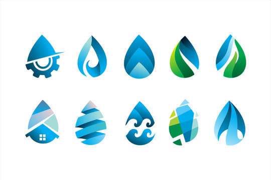 pack of modern water drop logo icon vector illustration