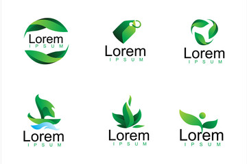 pack of modern green leaf logo icon illustration Wall mural
