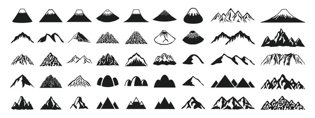 Mountain icon set of various shapes