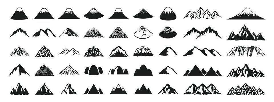 Mountain icon set of various shapes