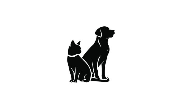silhouette of dog and cat