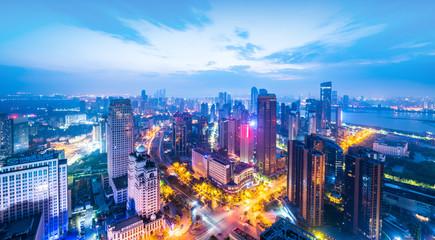 hong kong city at night Fotomurales