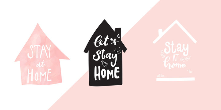 Stay home calligraphy for corona virus prevention vector background