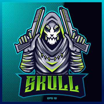 Reaper Shooter esport and sport mascot logo design with modern illustration concept style for team, badge, emblem and thirst printing.Reaper illustration for game Blue Background. Vector illustration
