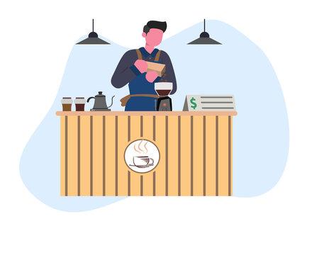 Coffee barista making coffee flat illustration
