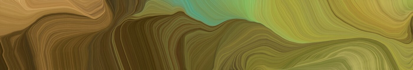 Keuken foto achterwand Pistache landscape banner with waves. modern waves background illustration with pastel brown, brown and very dark green color