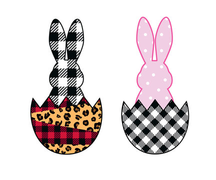 .Easter bunny and mixed pattern eggs .  Leopard, buffalo plaid, polka dots . Easter design elements. Set of  two images.Vector illustration.