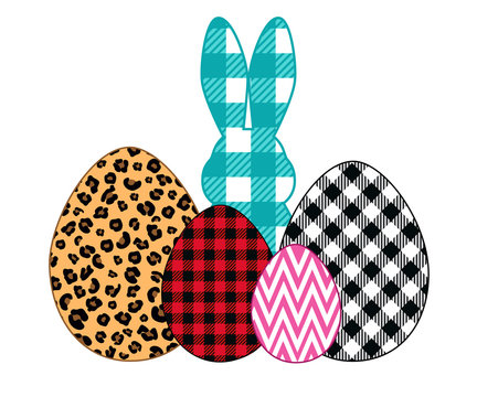 .Easter bunny silhouette and mixed pattern eggs . Leopard, buffalo plaid and zigzag. Easter design elements. Vector illustration.