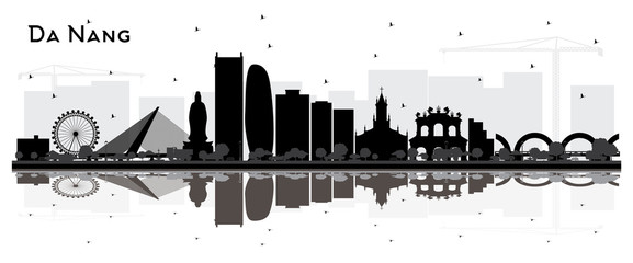 Fototapete - Da Nang Vietnam City Skyline Silhouette with Black Buildings and Reflections Isolated on White.