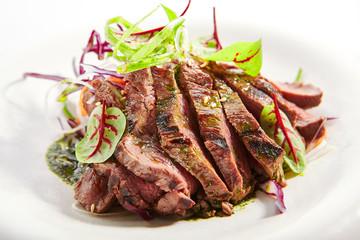 Tataki roast beef closeup view