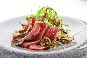 Tataki tuna closeup view