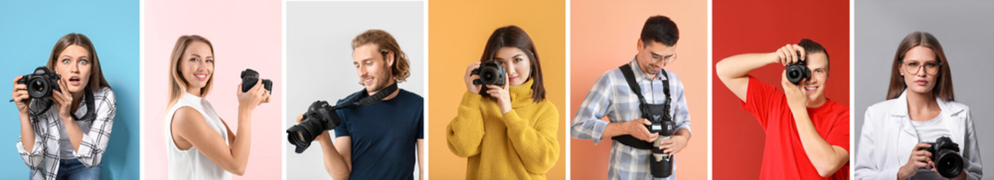 Collage of photos with different young photographers
