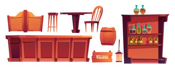 Cowboy saloon, western retro bar furniture and stuff set. Wooden swing door, table, chair and counter desk, wine barrel, shelf glass bottles, lantern and welcome signboard. Cartoon vector clip art Wall mural