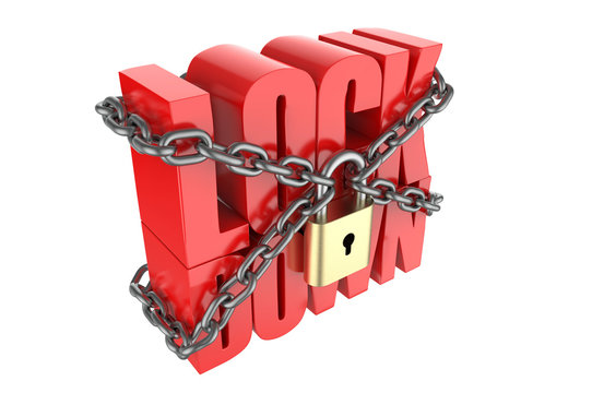 Lock down text with metal chain and lock, 3d render illustration.