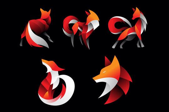 pack of fox logo icon illustration vector