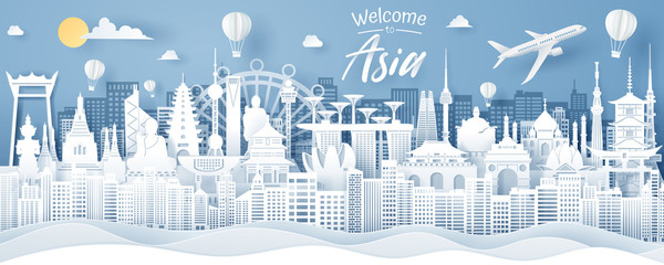 Paper cut of Asia landmark, Thailand, Singapore, Japan, India, Korea, China and Hong Kong. Asia travel and tourism concept. Wall mural