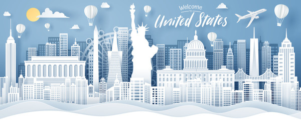 Paper cut of USA landmark, travel and tourism concept. Wall mural