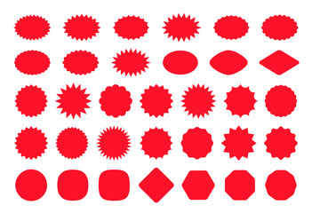 Callout star sticker. Starburst price badge. Vector. Burst promo shapes. Set red splash sunburst stamps isolated on white background. Round, cloud retail tag. Color illustration. Simple empty pricetag