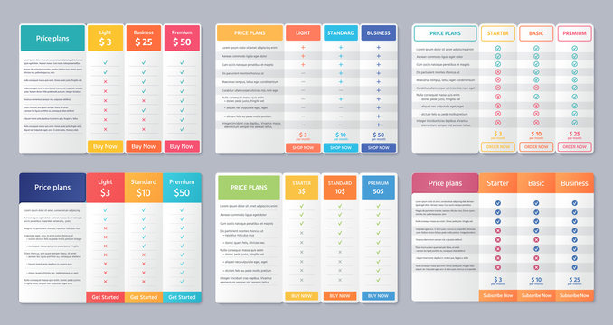 Table price template. Vector. Comparison plan chart. Set pricing data grid with 3 columns. Checklist compare tariff banner for purchases, business, web services. Color illustration. Flat simple design