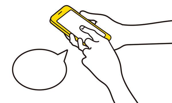 スマホを操作する指のイラスト
