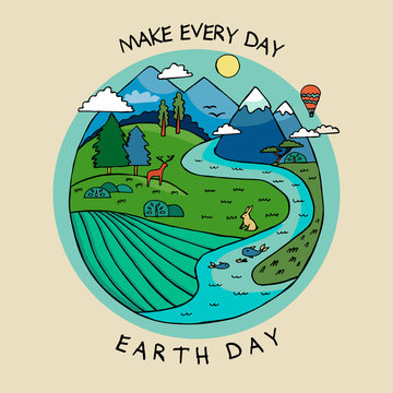 Happy earth day banner to celebrate environmental safety