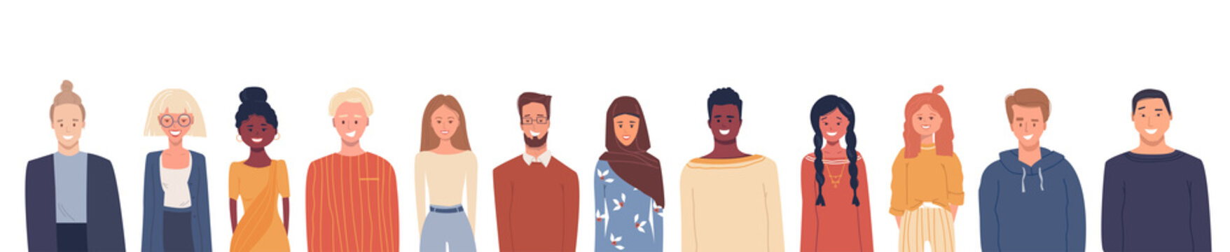 Vector illustration in flat style. Global society. Happy smiling people of different nationalities, cultures isolated on white. Multiethnic group of people. White empty place for text