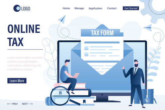 Online tax landing page template. Mail with document on monitor screen. Filling and submitting tax reports.