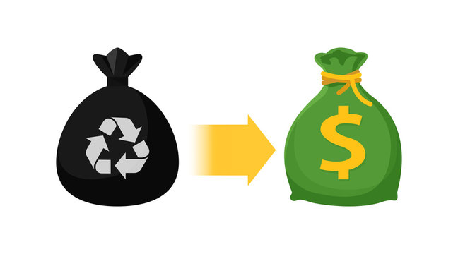 icon garbage bags and money bag, symbol of sack garbage waste and money trade, waste exchange business to money, buy and sell garbage, junk trading in money concept, waste sell and exchange