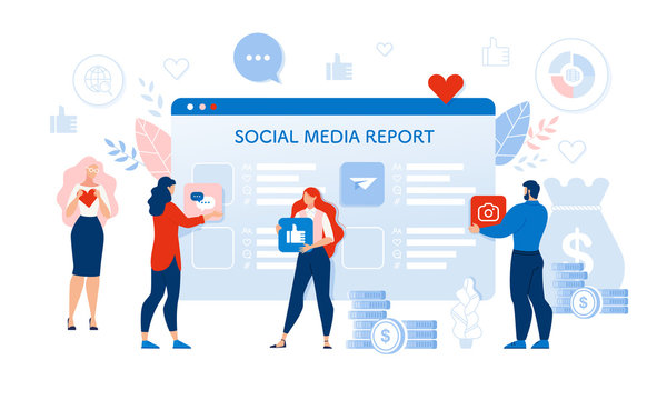 Social Media Audit Report. People User Response. Man and Woman Holding Like Heart and Thumbs up Sign, Photo Camera and Online Chat Widget. Huge Digital Tablet Screen Check Point. Vector Illustration