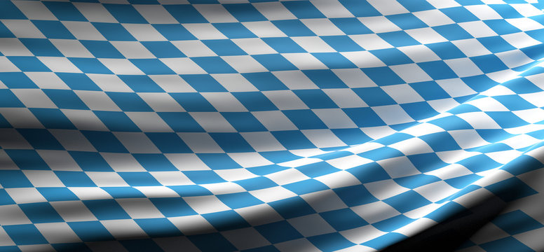 Bavaria national flag waving texture background. 3d illustration