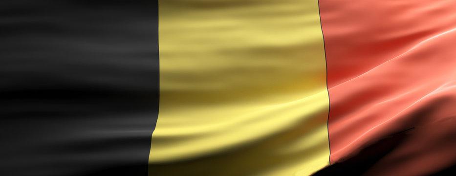 Belgium national flag waving texture background. 3d illustration