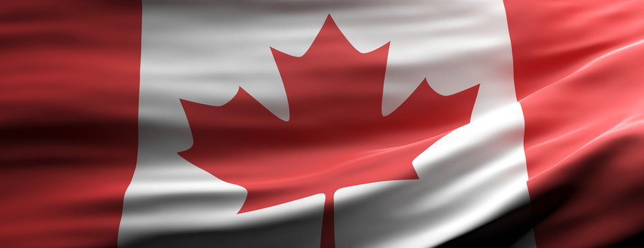 Canada national flag waving texture background. 3d illustration