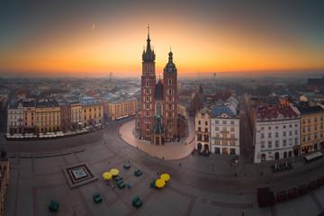 Obraz Kraków, panorama Staregu Rynku o poranku, Polska - fototapety do salonu