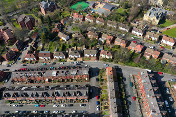 Fotobehang Oceanië Aerial photo over looking the area of Leeds known as Headingley in West Yorkshire UK, showing a typical British hosing estates and roads taken with a drone on a sunny day