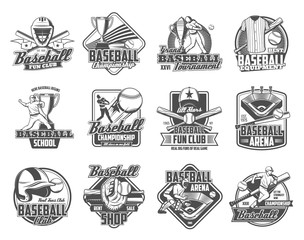 Baseball sport ball, bat and trophy cup vector badges. Player on sporting arena with glove or mitt, team uniform jersey, cap and play field, catcher helmet, mask and leg pad monochrome icons design