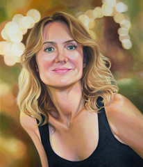 Portrait of young woman, original oil painting. Cheerful attractive female face, artwork, oil on canvas.