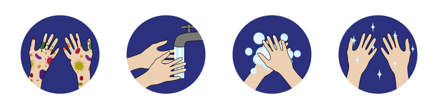 Step to Wash your hands, prevent infection from spreading (virus, bacteria, germ)
