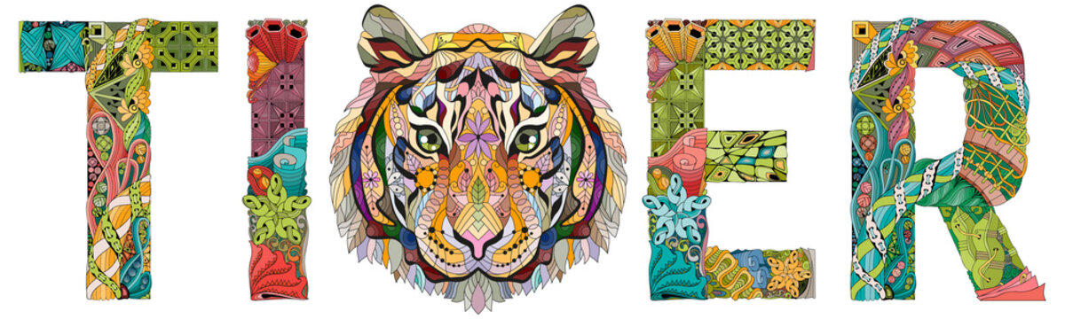 Word tiger. Vector zentangle object for decoration