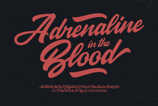 """Adrenaline in the Blood"". Original Brush Script Font. Retro Typeface. Vector Illustration."