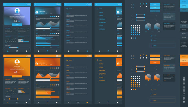 UI kit for applications or sites, layout, isolated ui elements