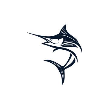 Marlin fish logo design. Awesome marlin fish logo. marlin fish logotype.