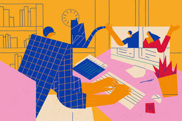 Working from home or remotely using modern technology. Teleworking or telecommuting conceptual illustration.