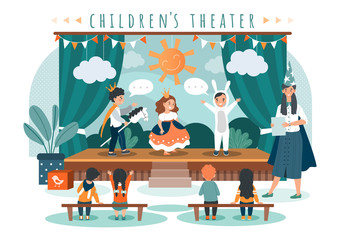 Children theater play, kids in costumes on stage, people vector illustration. Cute boy and girl performing in front of friends and schoolmates. Children theatrical performance, little princess
