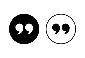 Quote icons set on white background. Quote sign icon. Quotation mark symbol.