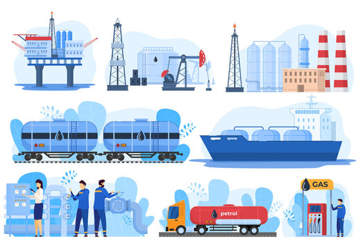 Oil logistic, gas industry, fuel extraction processing and transportation, vector illustration. Offshore oil rig, gas factory, train and car cisterns. Petroleum production industry, gasoline logistic