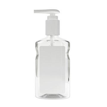 Realistic sanitizer gel bottle with pump. Gel or cream bottle dispenser. Pump container template. Hand sanitizer in 236ml bottle with pump.
