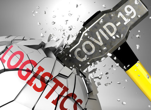 Logistics and Covid-19 virus, symbolized by virus destroying word Logistics to picture that coronavirus affects Logistics and leads to crisis and  recession, 3d illustration